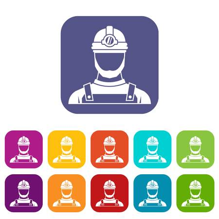 hard: Male miner icons set