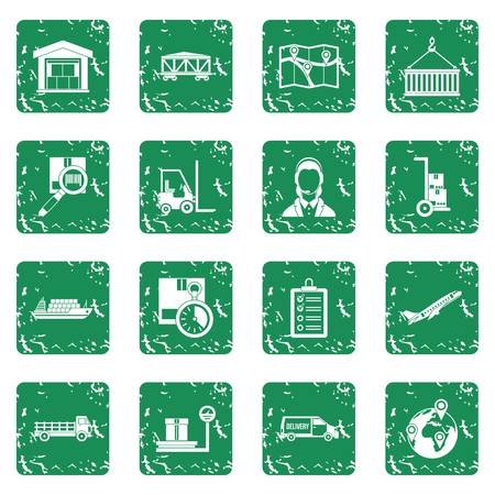 delivery truck: Logistic icons set grunge