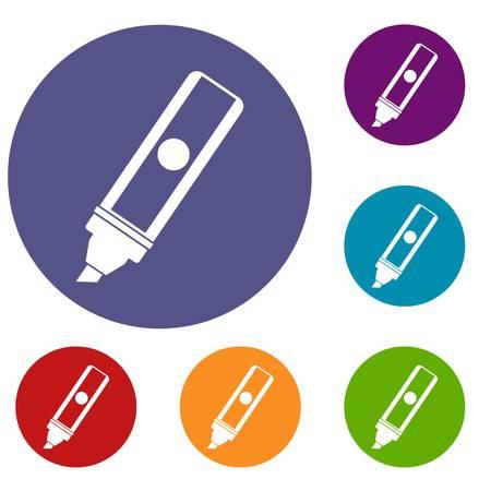 highlighter pen: Permanent marker icons set