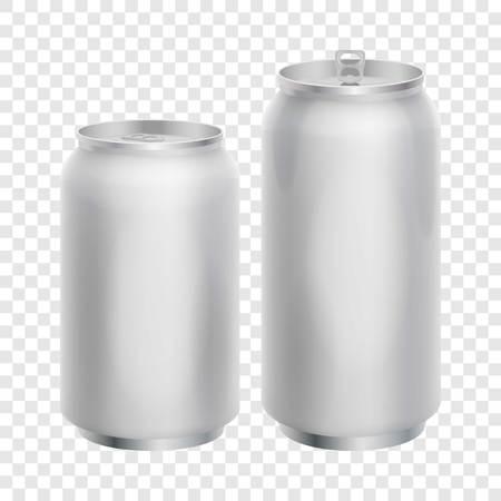 aluminum: Two blank aluminum cans mockup, realistic style Illustration