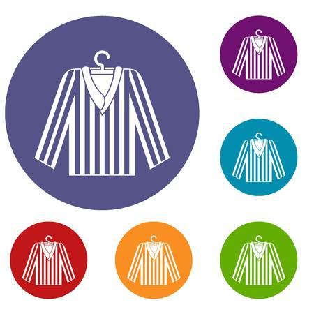 Striped pajama shirt icons set