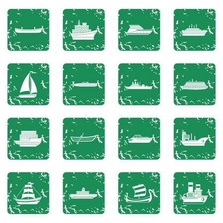 Sea transport icons set grunge