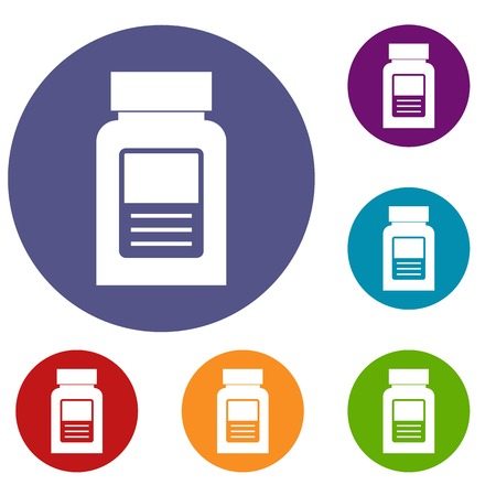 psychiatric: Medicine bottle icons set in flat circle red, blue and green color for web