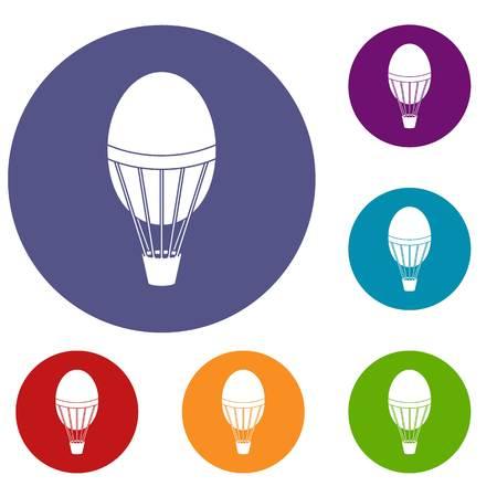 Hot air balloon icons set Illustration