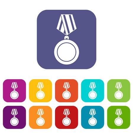 Winning medal icons set Illustration