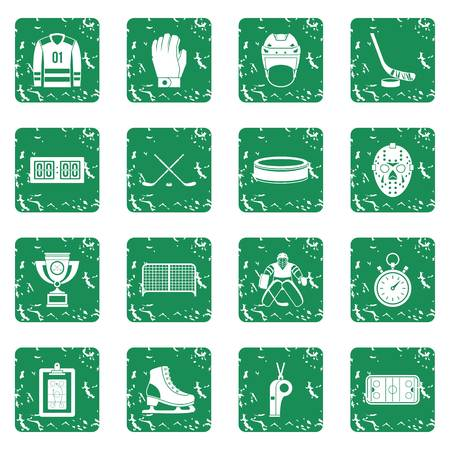 Hockey icons set in grunge style green isolated vector illustration  イラスト・ベクター素材
