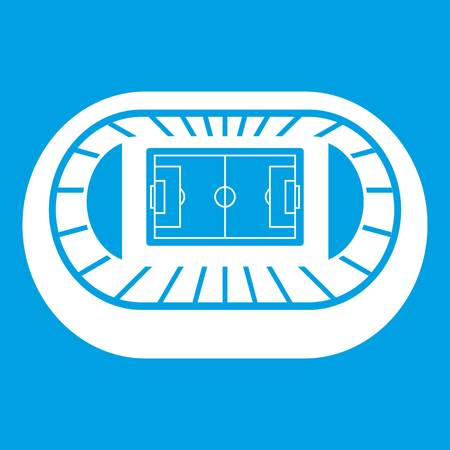 real tennis: Stadium top view icon white isolated on blue background vector illustration