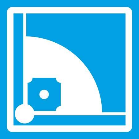 Baseball field icon white isolated vector illustration