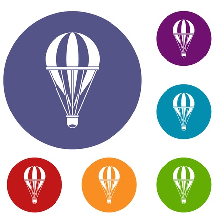 red balloons: Hot air striped balloon icons set in flat circle red, blue and green color for web Illustration