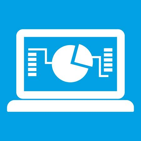Laptop with business graph icon white isolated on blue background vector illustration