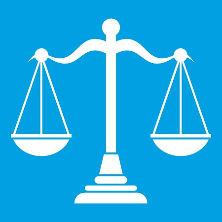 libra: Balance scale icon white isolated on blue background vector illustration