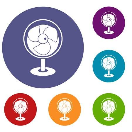 airflow: Vintage electric fan icons set in flat circle red, blue and green color for web