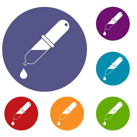 rubber tube: Pipette icons set