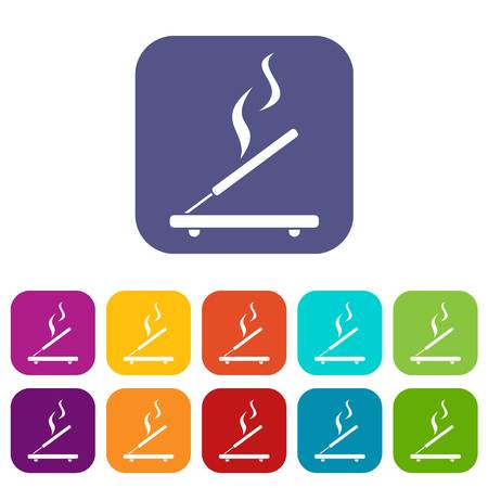 Incense sticks icons set