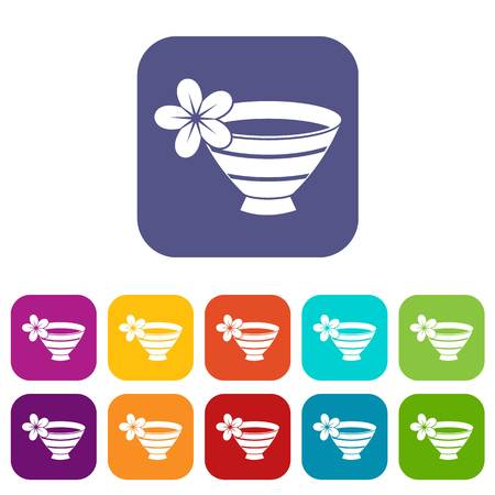 medical illustration: Bowl with water for spa icons set