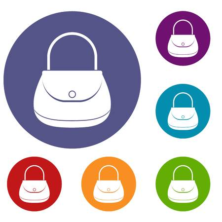 pouch: Woman bag icons set in flat circle red, blue and green color for web
