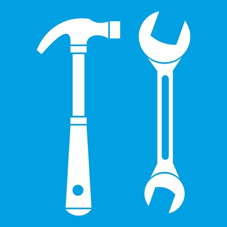 machinery: Hammer and wrench icon white isolated on blue background vector illustration