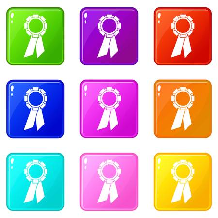 rate: Champion medal icons of 9 color set isolated vector illustration