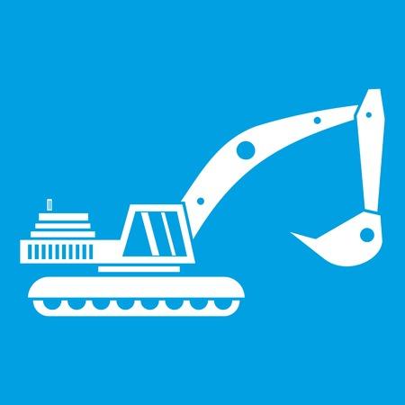 Excavator icon white Illustration