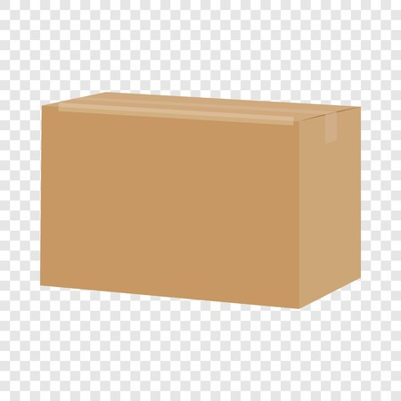 Carton box container mockup, realistic style
