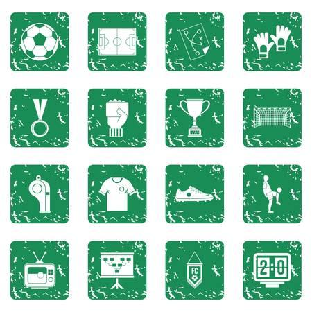 Soccer football icons set grunge