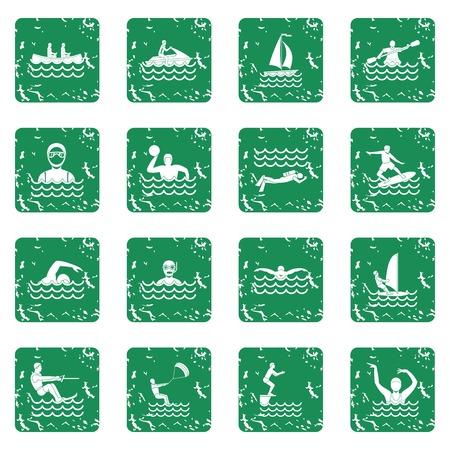 Water sport icons set grunge Illustration
