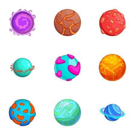 Space planets icons set, cartoon style