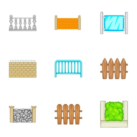 Sections of the fence icons set, cartoon style