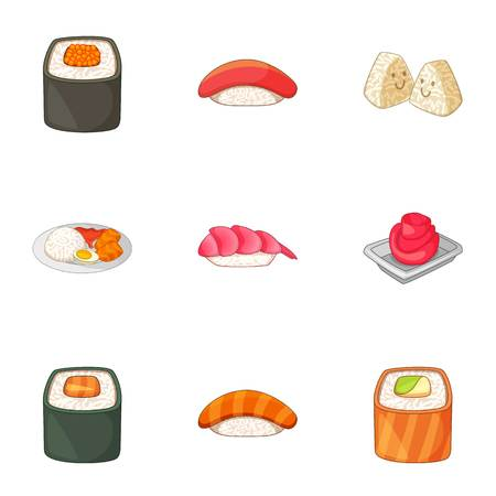 Japanese food icons set, cartoon style Illustration