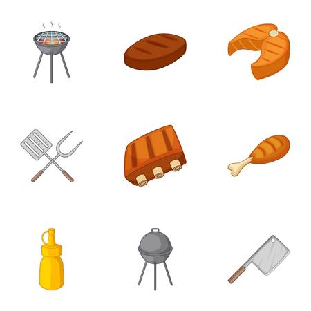 Grilling icons set, cartoon style
