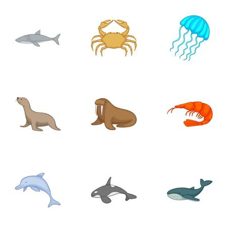 Residents of the north seas icons set