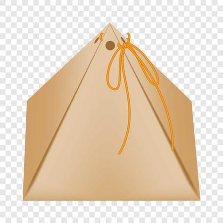 Cardboard triangular packaging box icon flat style Illustration