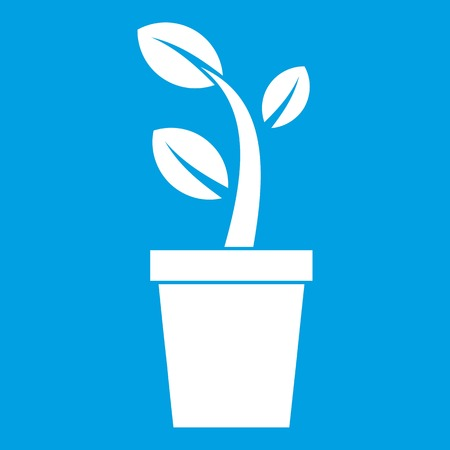 Sprout in pot icon white Illustration