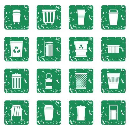 aluminum: Garbage container icons set grunge Illustration