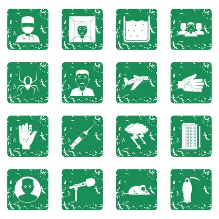 Phobia symbols icons set grunge Illustration