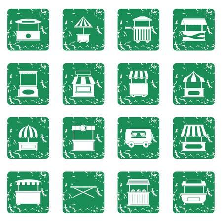Street food truck icons set grunge