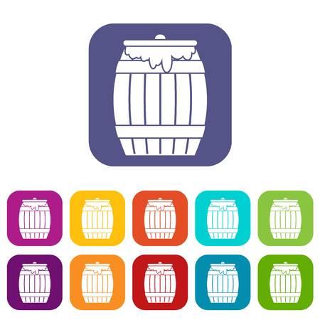 Honey keg icons set
