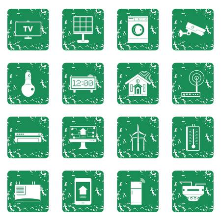 appliances: Smart home house icons set in grunge style green isolated vector illustration Illustration