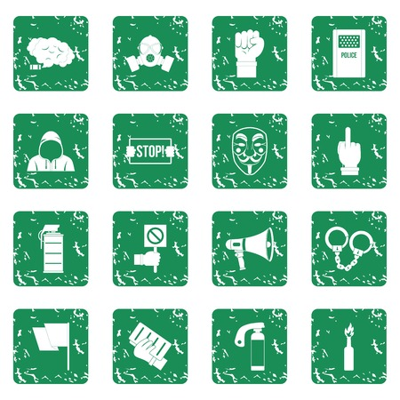 Protest icons set in grunge style green isolated vector illustration