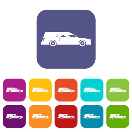Hearse icons set vector illustration in flat style in colors red, blue, green, and other