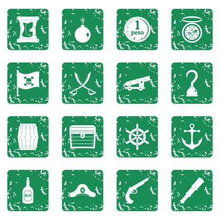 cocked hat: Pirate icons set in grunge style green isolated vector illustration