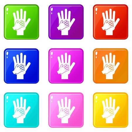 depend: Parent and child hands together icons of 9 color set isolated vector illustration