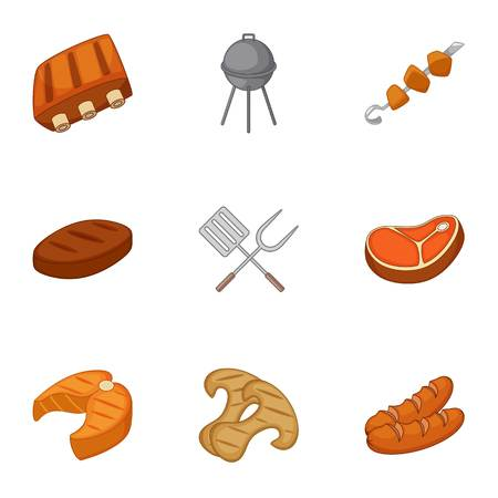 Cooking on barbecue icons set, cartoon style