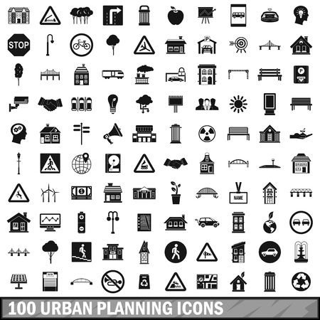 100 urban planning icons set, simple style Illustration