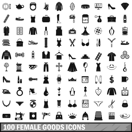 100 female goods icons set, simple style