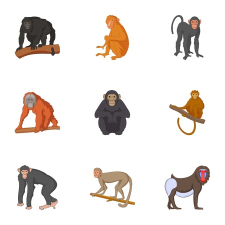 Different kinds of monkeys icons set