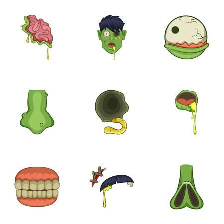 Zombie icons set, cartoon style Illustration