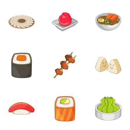 Sushi icons set, cartoon style Illustration