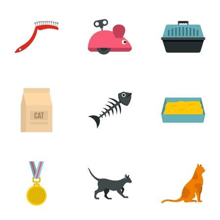 grappling: Cat things icons set, cartoon style Illustration