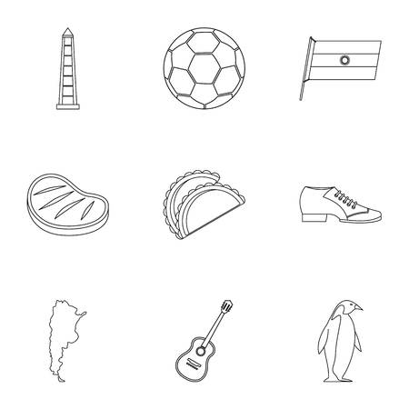 Typical Argentina icons set, outline style Vetores